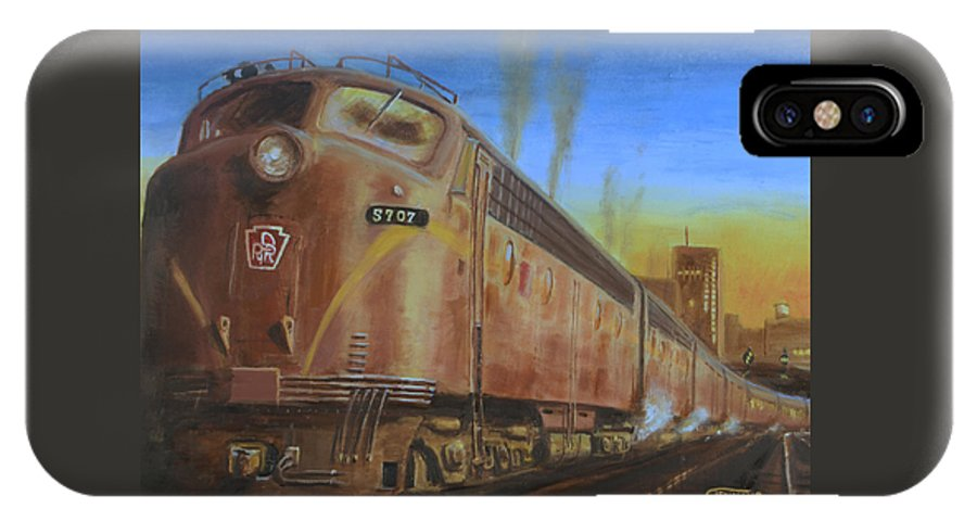 Train IPhone X Case featuring the painting Two Minutes Late by Christopher Jenkins