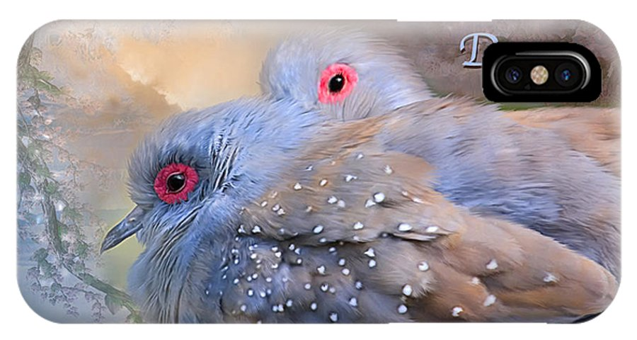 Turtle Doves IPhone X Case featuring the mixed media Two Turtle Doves Card by Carol Cavalaris