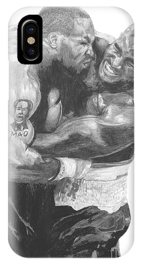 Mike Tyson IPhone X Case featuring the drawing Tyson Vs Holyfield by Tamir Barkan