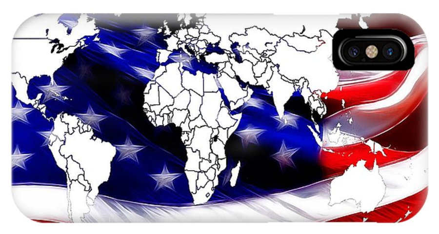 Map World Digital Art Atlas Country America Africa Asia Europe Australia Color Colorful Expressionism Impressionism Save American Usa Stars Stripes Flag IPhone X Case featuring the digital art Under Protection Map by Steve K