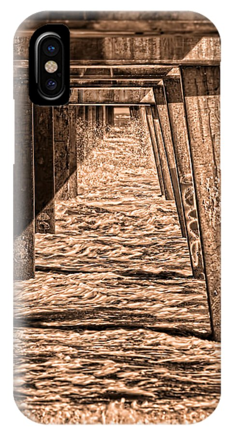Jacksonville Beach Fishing Pier IPhone X / XS Case featuring the photograph Under The Jacksonville Bridge In Sepia by Frank Feliciano
