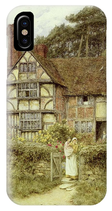Cottage; Mother And Child; Gate; Rural Scene; Country; Countryside; Home; Path; Garden; Wildflowers; Roses; Picturesque; Idyllic; Daughter; Timber Frame; Half-timbered; Sunflowers; House; Female IPhone X Case featuring the painting Unstead Farm Godalming by Helen Allingham