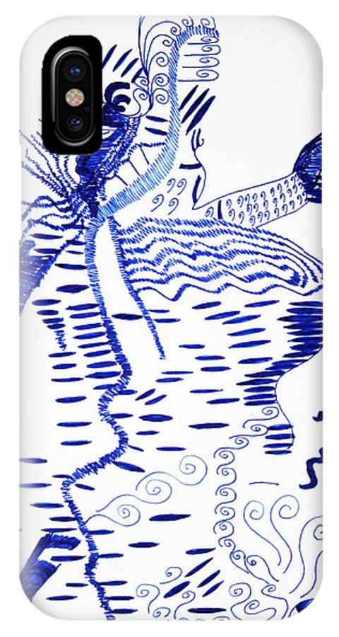 Jesus IPhone X Case featuring the drawing Upper Guinea Dance by Gloria Ssali