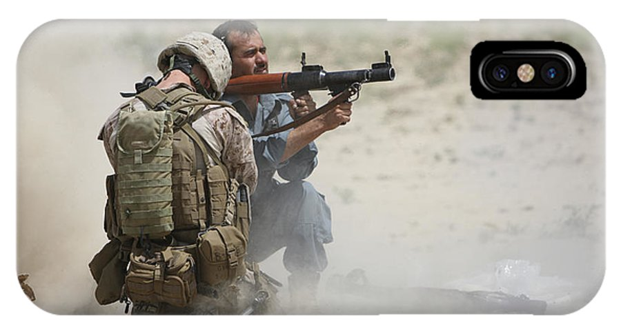 Afghanistan IPhone X Case featuring the photograph U.s. Marine Watches An Afghan Police by Terry Moore