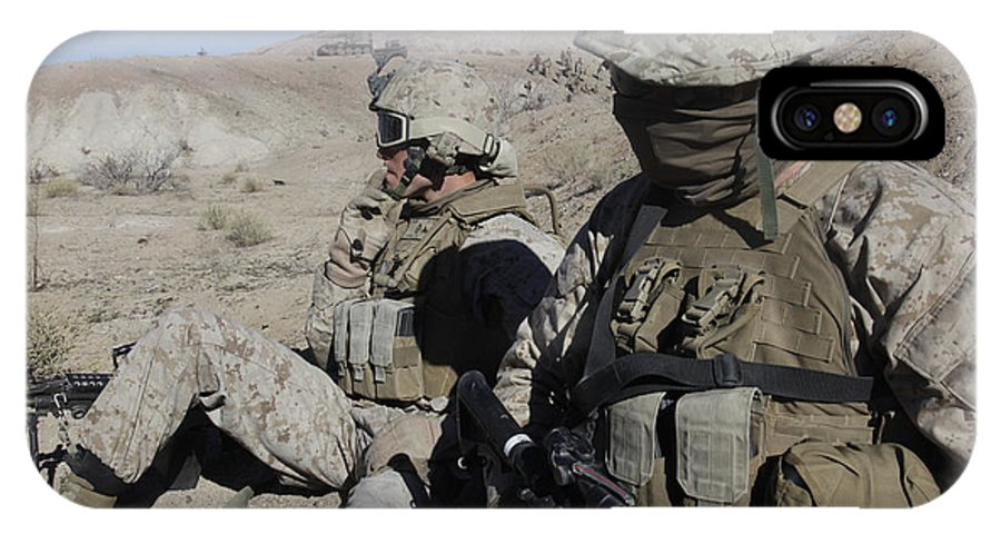 Us Marine Corps IPhone X Case featuring the photograph U.s. Marines Take A Break by Stocktrek Images