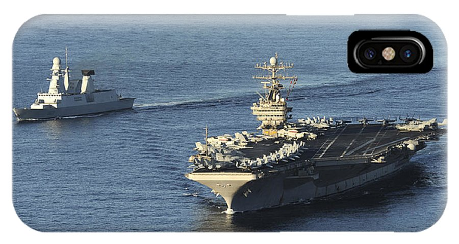 Nimitz Class IPhone X Case featuring the photograph Uss Abraham Lincoln And French Navy by Stocktrek Images