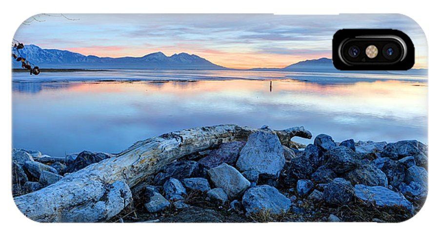 Wasatch Mountains IPhone X Case featuring the photograph Utah Lake At Sunset by Gary Whitton