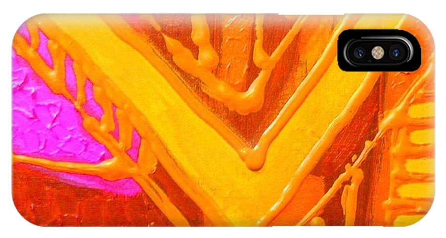 Abstract IPhone X Case featuring the painting Variations On A Theme by John Nolan