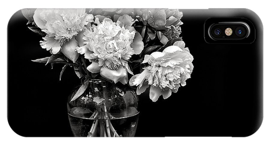 Flower IPhone X Case featuring the photograph Vase Of Peonies In Black And White by Endre Balogh