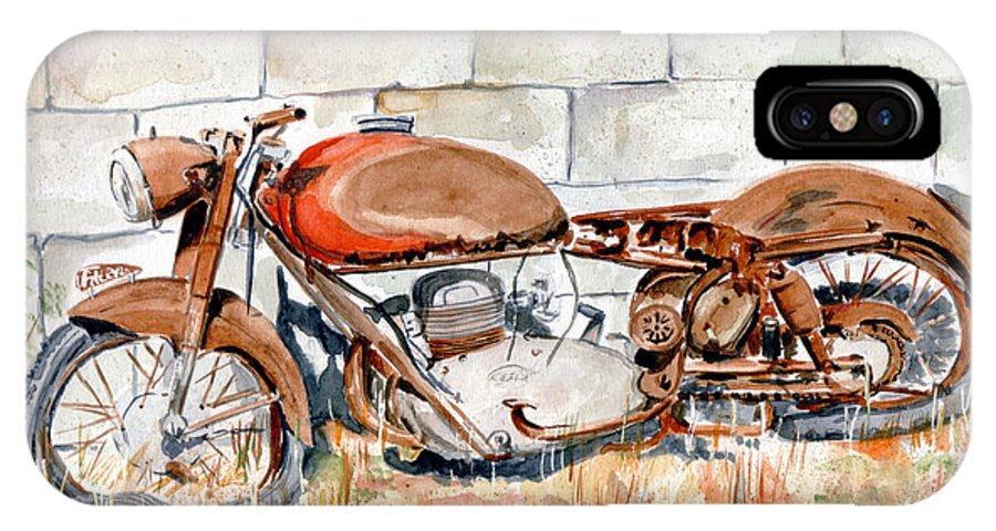 Still Life IPhone X / XS Case featuring the painting Vecchia Gilera by Giovanni Marco Sassu