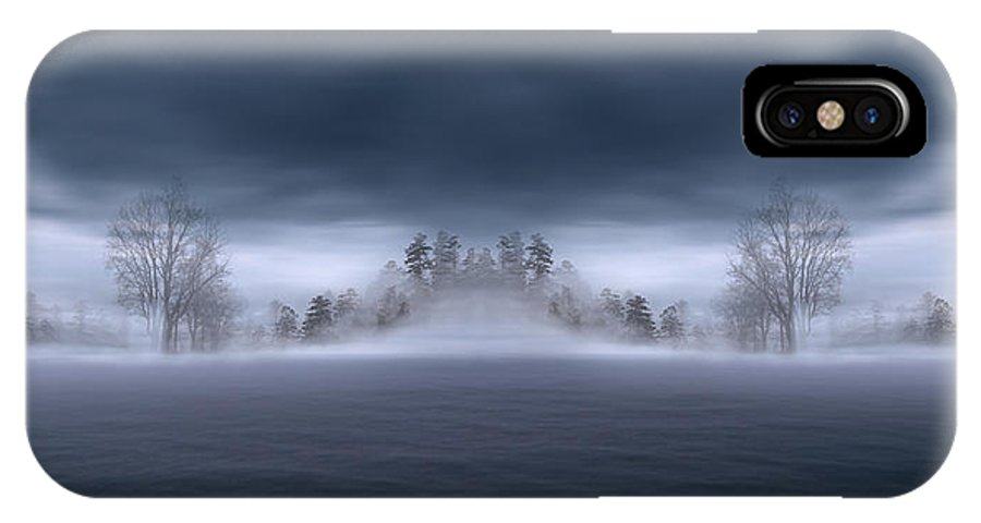 One Cold Dark Misty Evening IPhone X Case featuring the photograph Veil Of Mist by Lourry Legarde