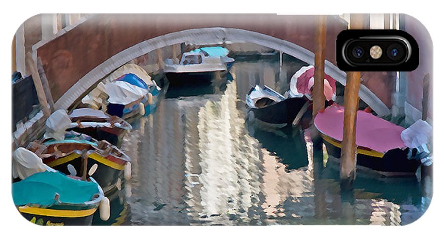 Rowing IPhone X Case featuring the photograph Venetian Canal by Jim Chamberlain