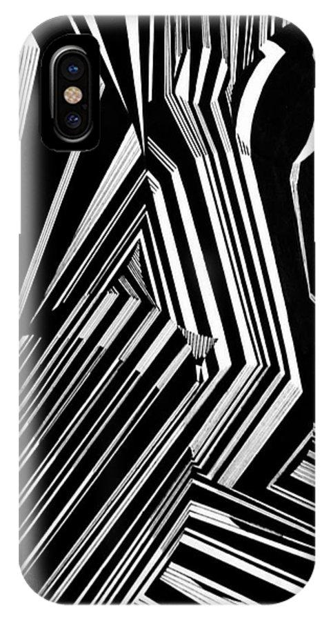 Black IPhone X Case featuring the drawing Vertigo by Rebecca Stephens