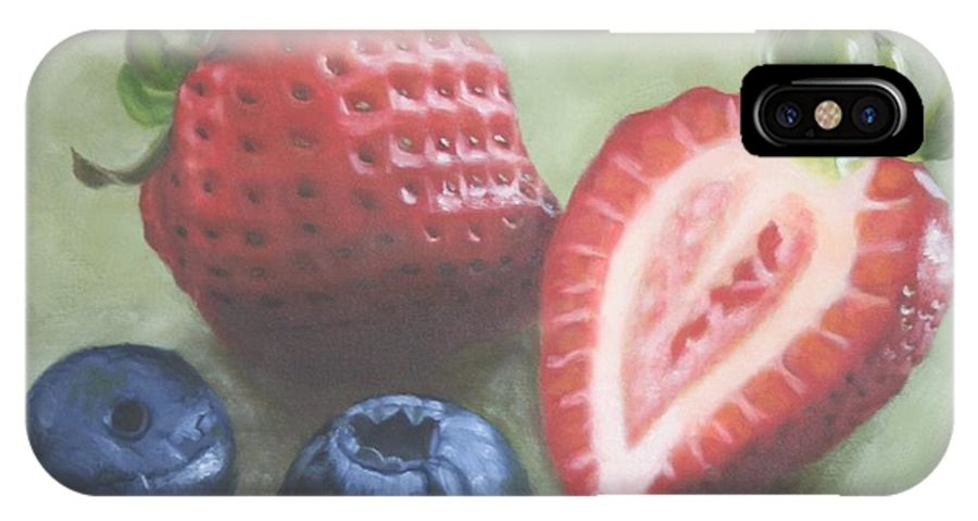 Strawberries IPhone X Case featuring the painting Very Berry by Candy Prather
