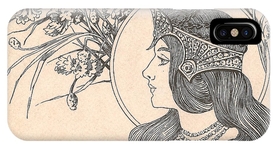 Victorian Woman IPhone X Case featuring the digital art Victorian Lady - 2 by Georgia Fowler