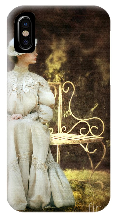 Beautiful IPhone X Case featuring the photograph Victorian Lady On Garden Bench by Jill Battaglia
