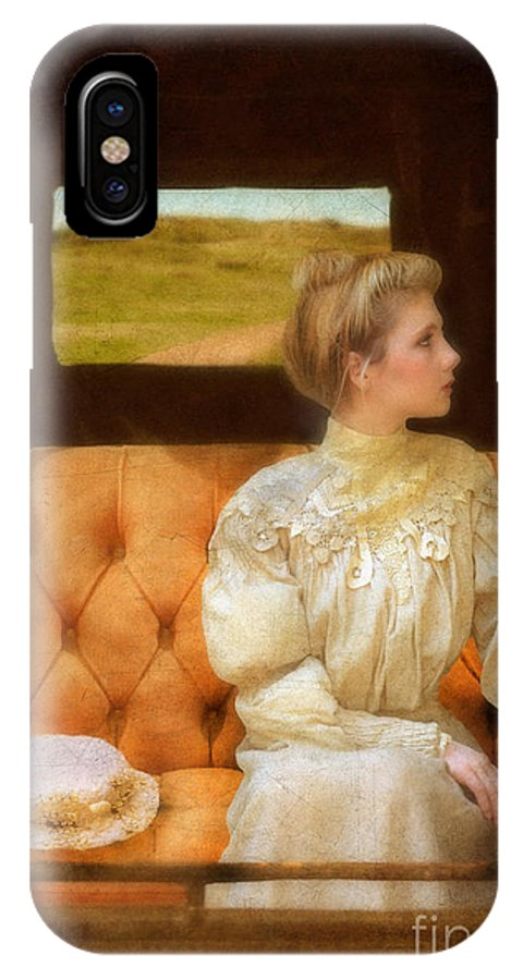 Young IPhone X Case featuring the photograph Victorian Lady Riding In A Carriage by Jill Battaglia