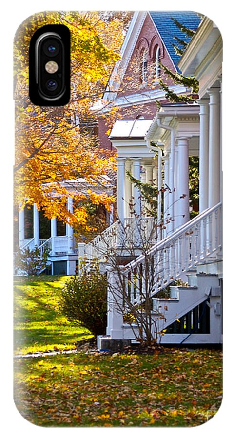 Autumn IPhone X Case featuring the photograph Victorian Porches by Faith Harron Boudreau