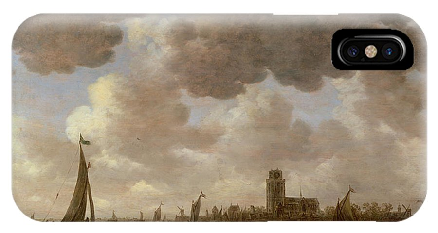 Cathedral; Landscape; Church; Windmill; Boats; Canal; River; Cloud IPhone X Case featuring the painting View Of Dordrecht Downstream From The Grote Kerk by Jan Josephsz van Goyen