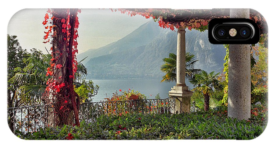 Pergola IPhone X Case featuring the photograph Villa Cipressi Pergola On Lake Como I by Greg Matchick