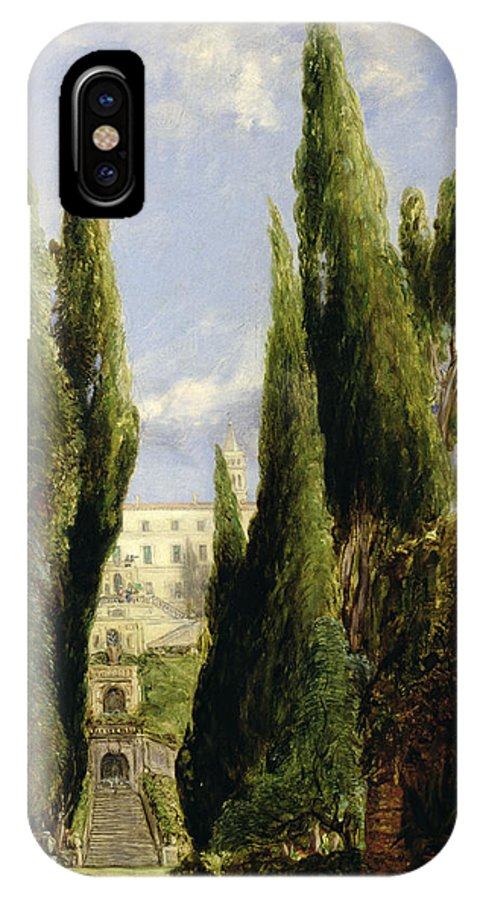 Italian Garden; Gardens; Renaissance Architecture; Staircase; Steps; Cypress Trees IPhone X Case featuring the painting Villa D'este Tivoli by William Collins