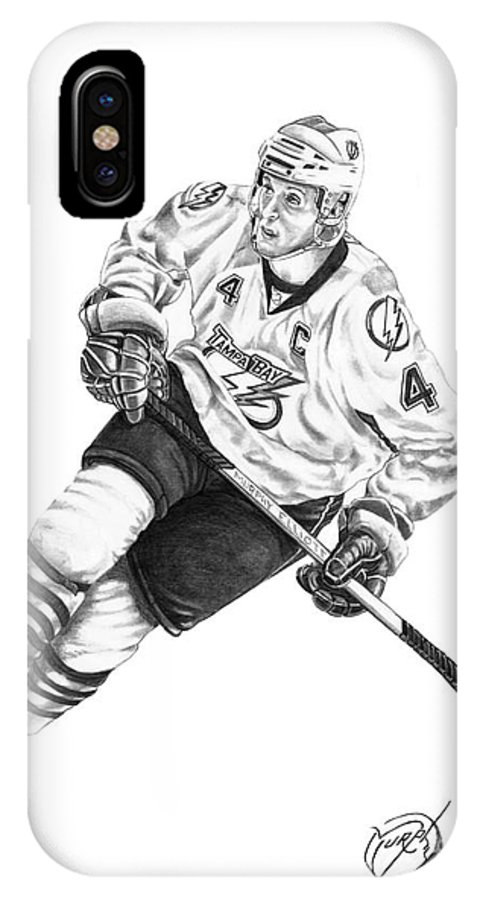 Pencil IPhone X Case featuring the drawing Vincent Lecavalier by Murphy Elliott