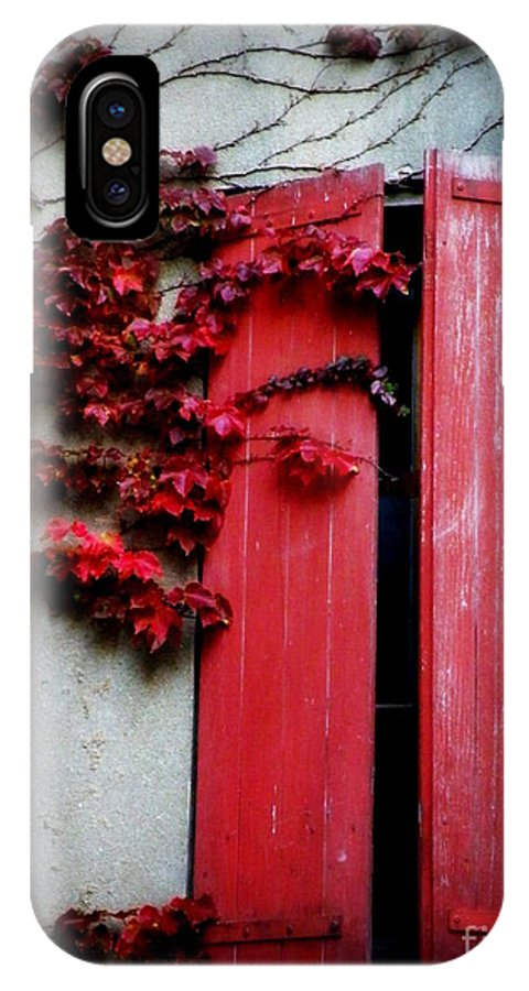 Red IPhone X Case featuring the photograph Vines On Red Shutters by Lainie Wrightson