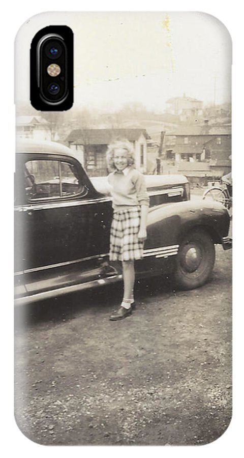 Digitized IPhone X Case featuring the photograph Vintage Auto And Girl by Alan Espasandin