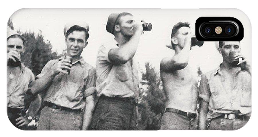 Drink Beer Vintage Men War Navy Half-naked Bottle Group 1940 IPhone X Case featuring the photograph Vintage Buddies by Alan Espasandin
