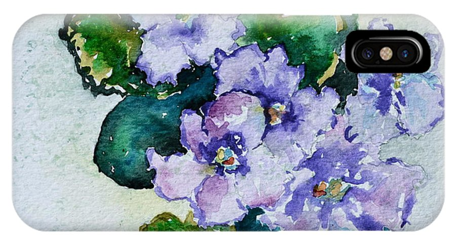 Violets IPhone X Case featuring the painting Violet Cluster by Beverley Harper Tinsley