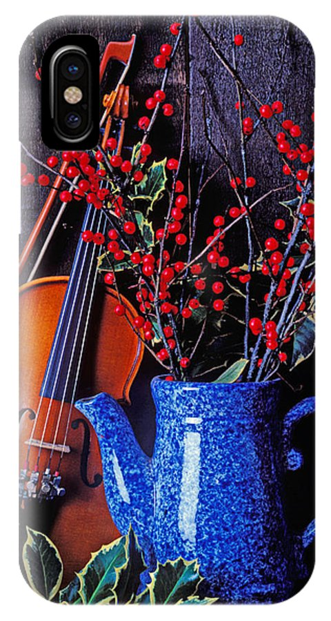 Violin IPhone X Case featuring the photograph Violin With Blue Pot by Garry Gay