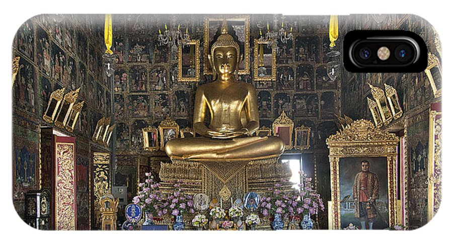 Bangkok IPhone X Case featuring the photograph Wat Ratcha Orasaram Ubosot Interior Dthb859 by Gerry Gantt