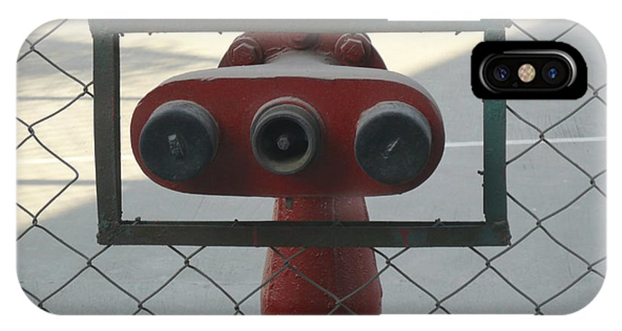 Fire IPhone X Case featuring the photograph Water Hydrants Built Into A Wire Mesh Fence by Ashish Agarwal