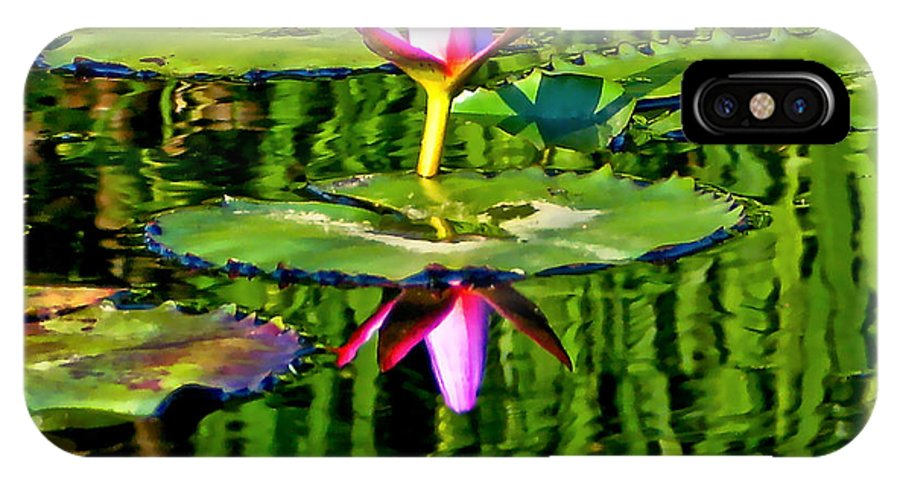 Impressionism IPhone X / XS Case featuring the photograph Water Lily Pond Garden Impressionistic Monet Style by Carol F Austin