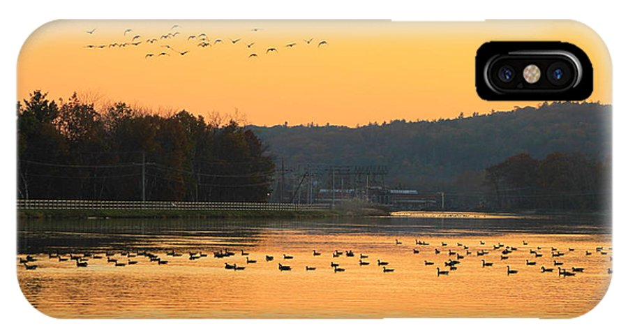 Turners Falls IPhone X Case featuring the photograph Waterfowl At Turners Falls Canal by John Burk