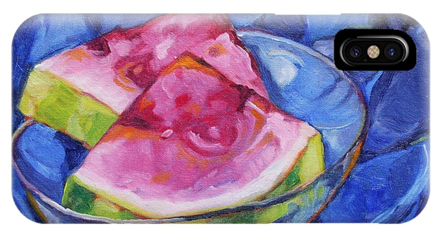 Still Life IPhone X Case featuring the painting Watermelon On Blue by Jan Bennicoff