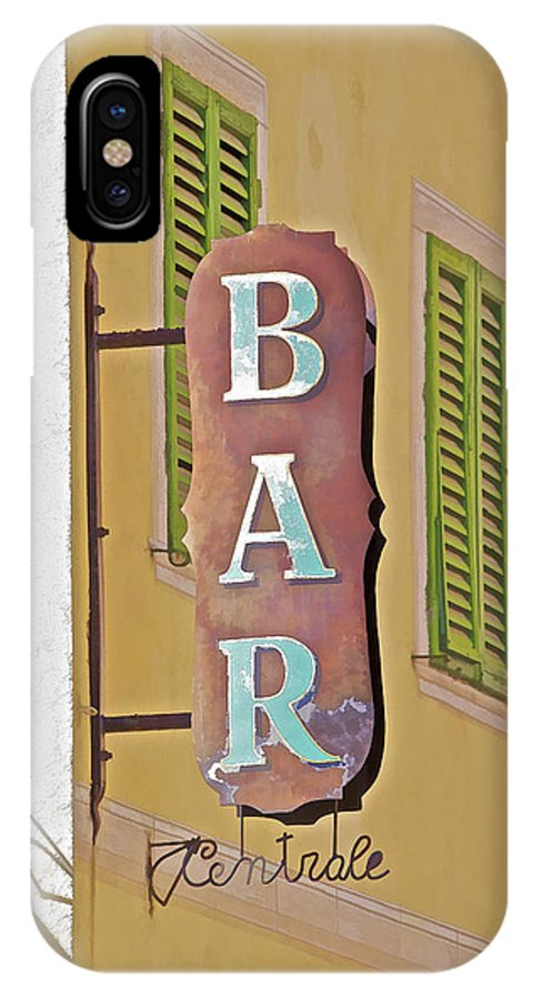 Antique IPhone X Case featuring the photograph Weathered Rustic Metal Bar Sign by David Letts