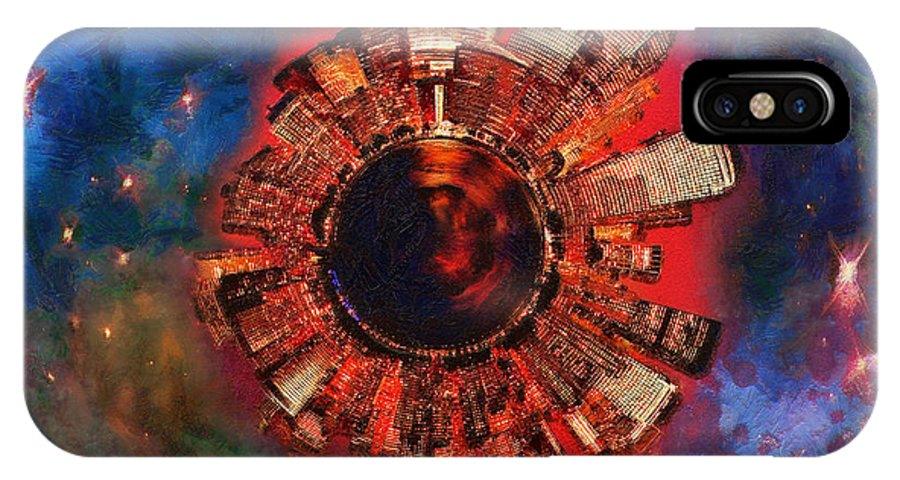 Manhattan IPhone X Case featuring the digital art Wee Manhattan Planet - Artist Rendition by Nikki Marie Smith