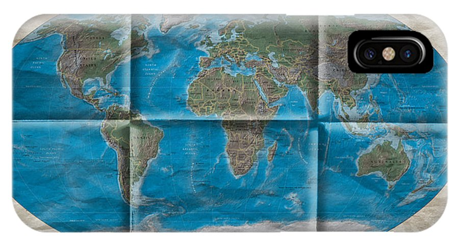World Map IPhone X Case featuring the photograph Well Worn World by Steve Purnell