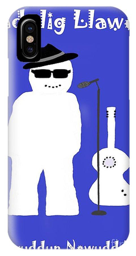 Christmas IPhone X Case featuring the digital art Welsh Snowman Musician by Barbara Moignard