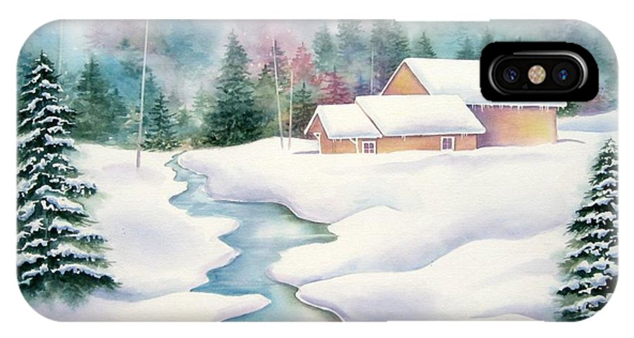 Winter IPhone X Case featuring the painting Whispering Pines by Deborah Ronglien