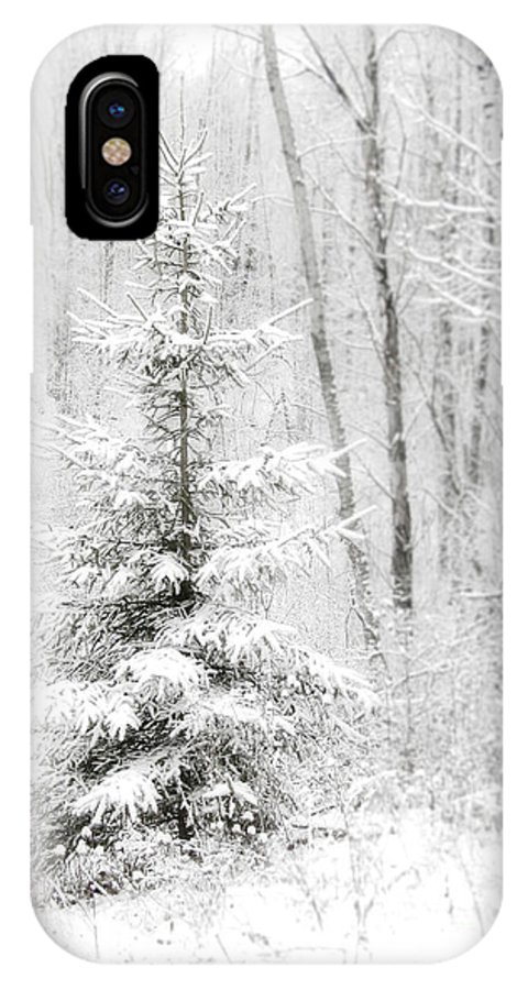 White IPhone X Case featuring the photograph Whispers The Snow by Angie Rea