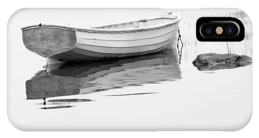 Art IPhone X Case featuring the photograph White Boat Anchored On A Foggy Morning In Maine by Randall Nyhof