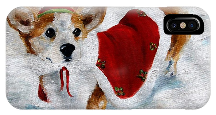 Art IPhone X / XS Case featuring the painting White Christmas by Mary Sparrow