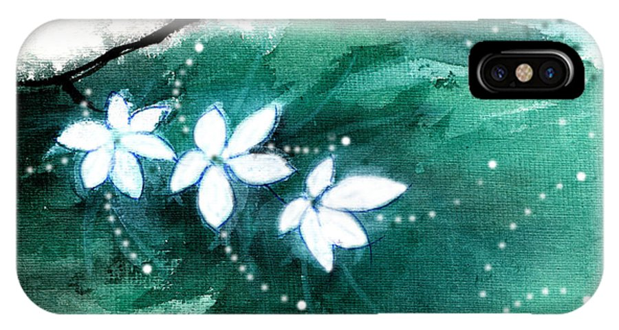 Nature IPhone X Case featuring the painting White Flowers by Anil Nene
