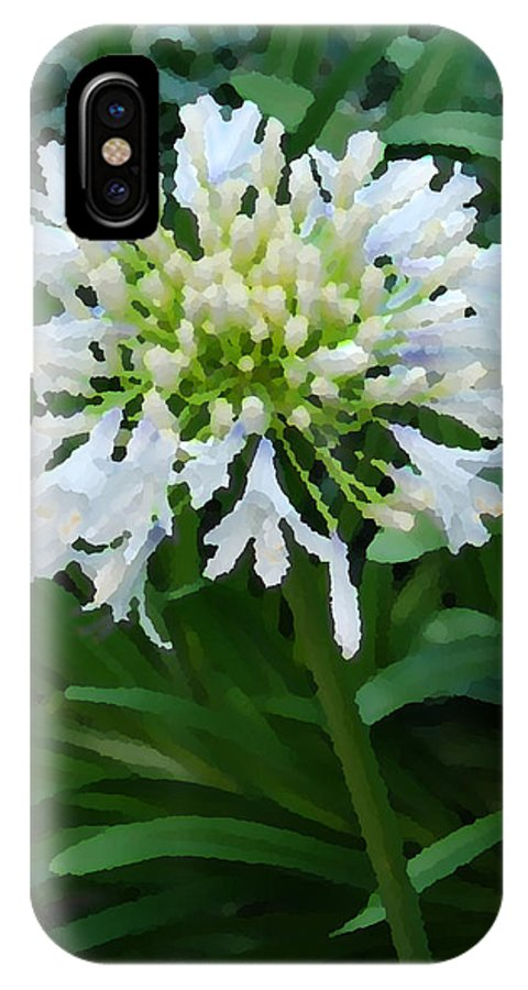 Nature IPhone X Case featuring the digital art White Flowers by Eva Kaufman