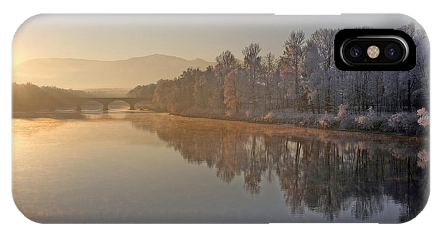 White IPhone X Case featuring the photograph White Frost Landscape by Ralf Kaiser