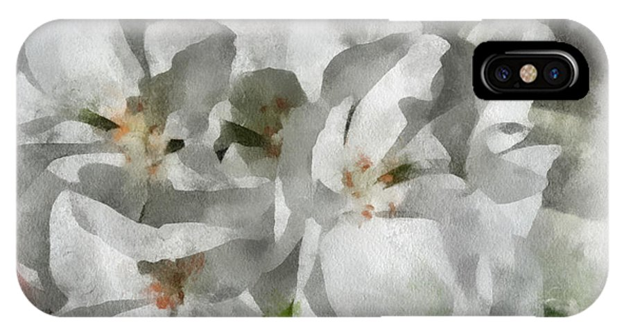 Santa IPhone X / XS Case featuring the digital art White Geraniums - Watercolor by Charles Muhle