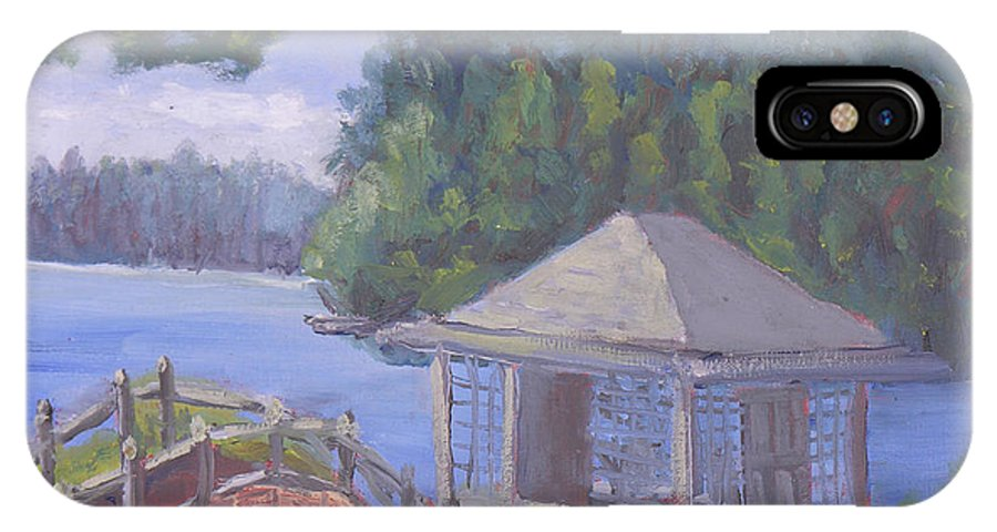 Adirondacks IPhone X Case featuring the painting White Pine Camp Tea House by Robert P Hedden