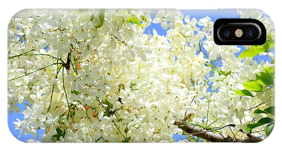 White IPhone X Case featuring the photograph White Shower Tree by Mary Deal